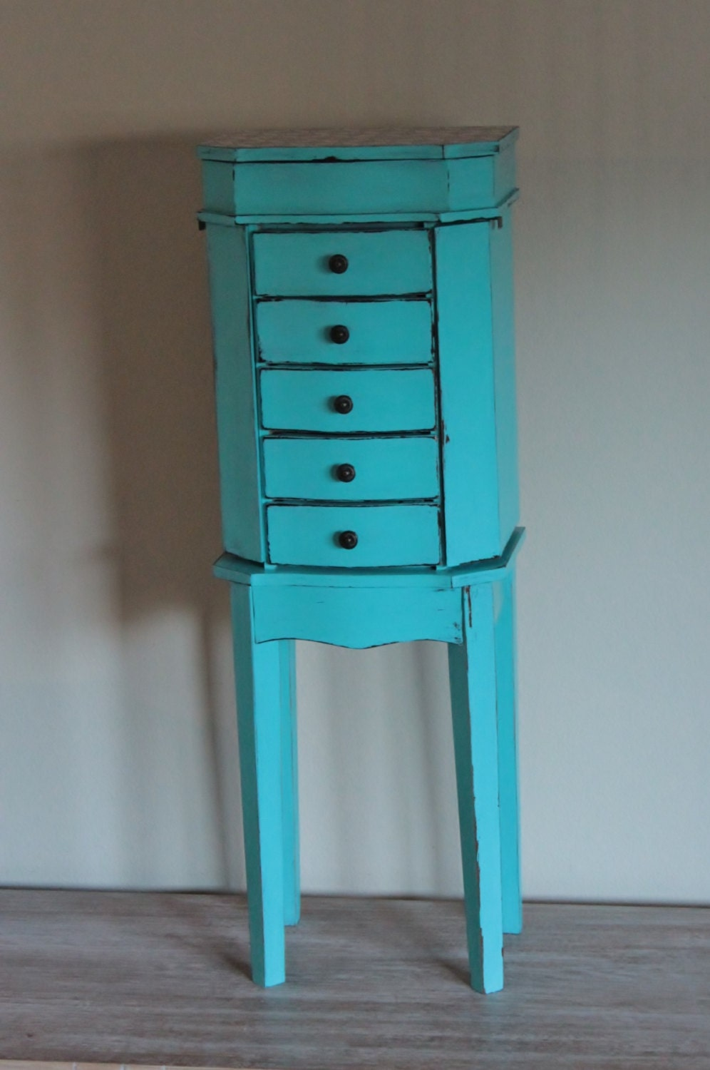 refurbished shabby chic turquoise jewelry armoire by lovedodo