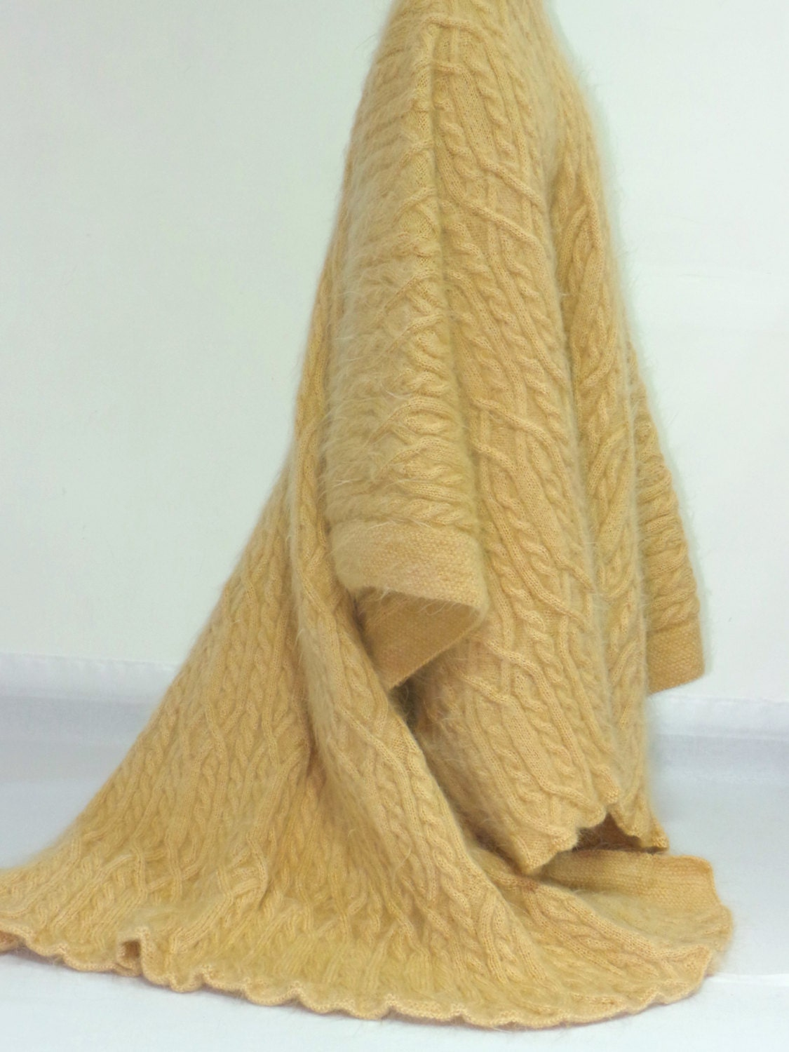 Thick Hand Knit Sweater Mohair BLANKET Fuzzy by EXTRAVAGANTZA