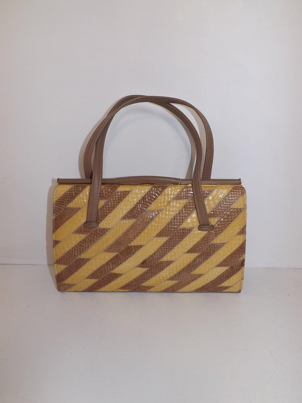 Vintage large real snakeskin leather patchwork handbag grab bag nude beige suede lined