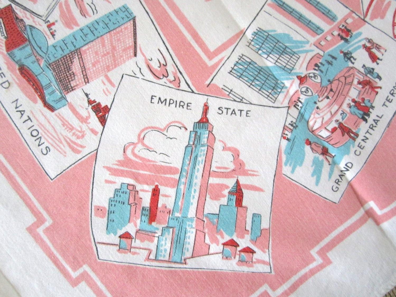 Vintage New York City Souvenir Tablecloth by NeatoKeen on Etsy