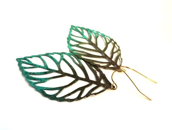 Leaf earrings - rustic green and brown jewelry gift for her - nature, garden, Spring, Summer set, patina, gold, turquoise, blue green dangle - KatieBelleDesign