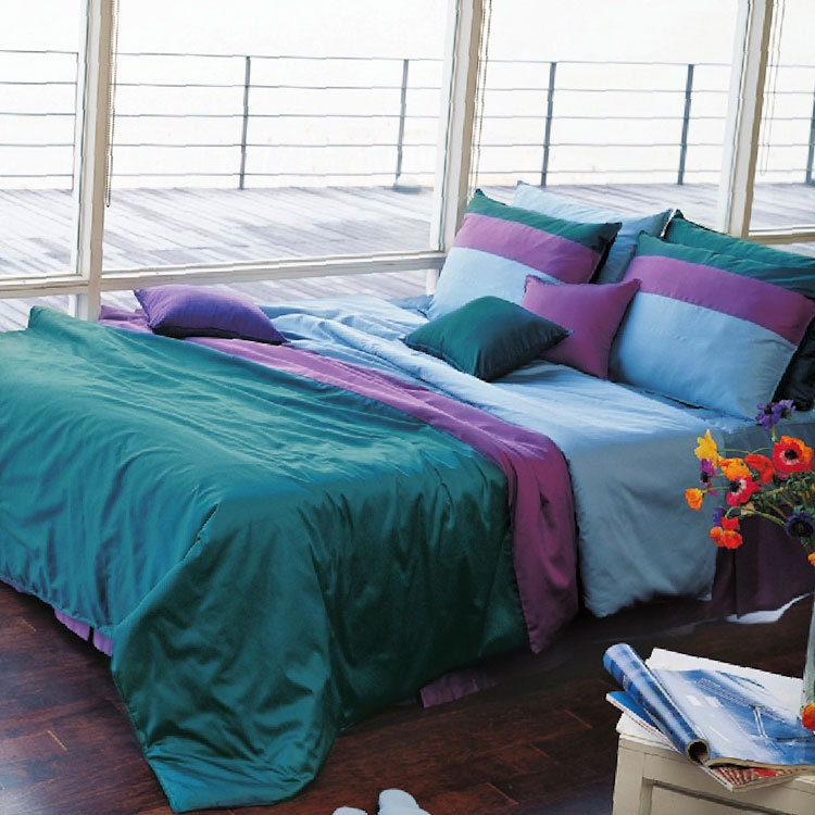 1100tc high quality sateen solid turquoise queen duvet by - Purple and blue comforter sets ...