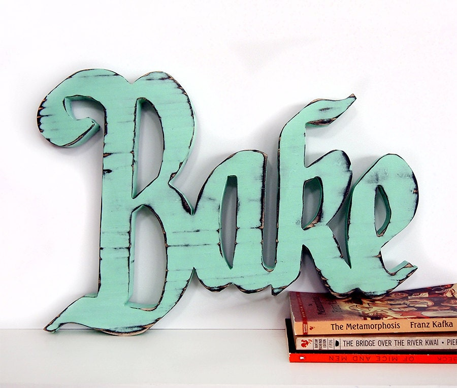 Wooden Bake Sign in Mint Pine Wood Sign Wall Decor Rustic Americana Cottage Country Chic Kitchen Decor - ThePineNuts