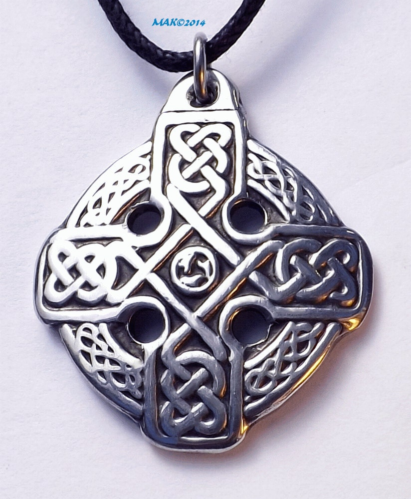 Alesia s cross pewter pendant celtic equal by raventreepewter