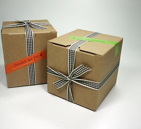 2 Kraft Cardboard Box -75x75x80mm