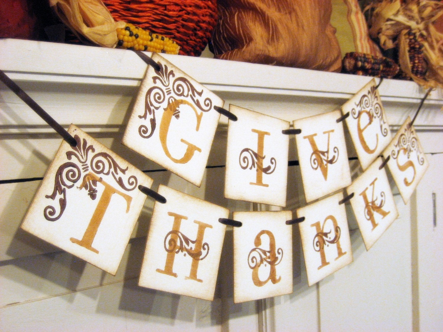 Thanksgiving Decorations GIVE THANKS Fall Banner hostess gift - bekahjennings