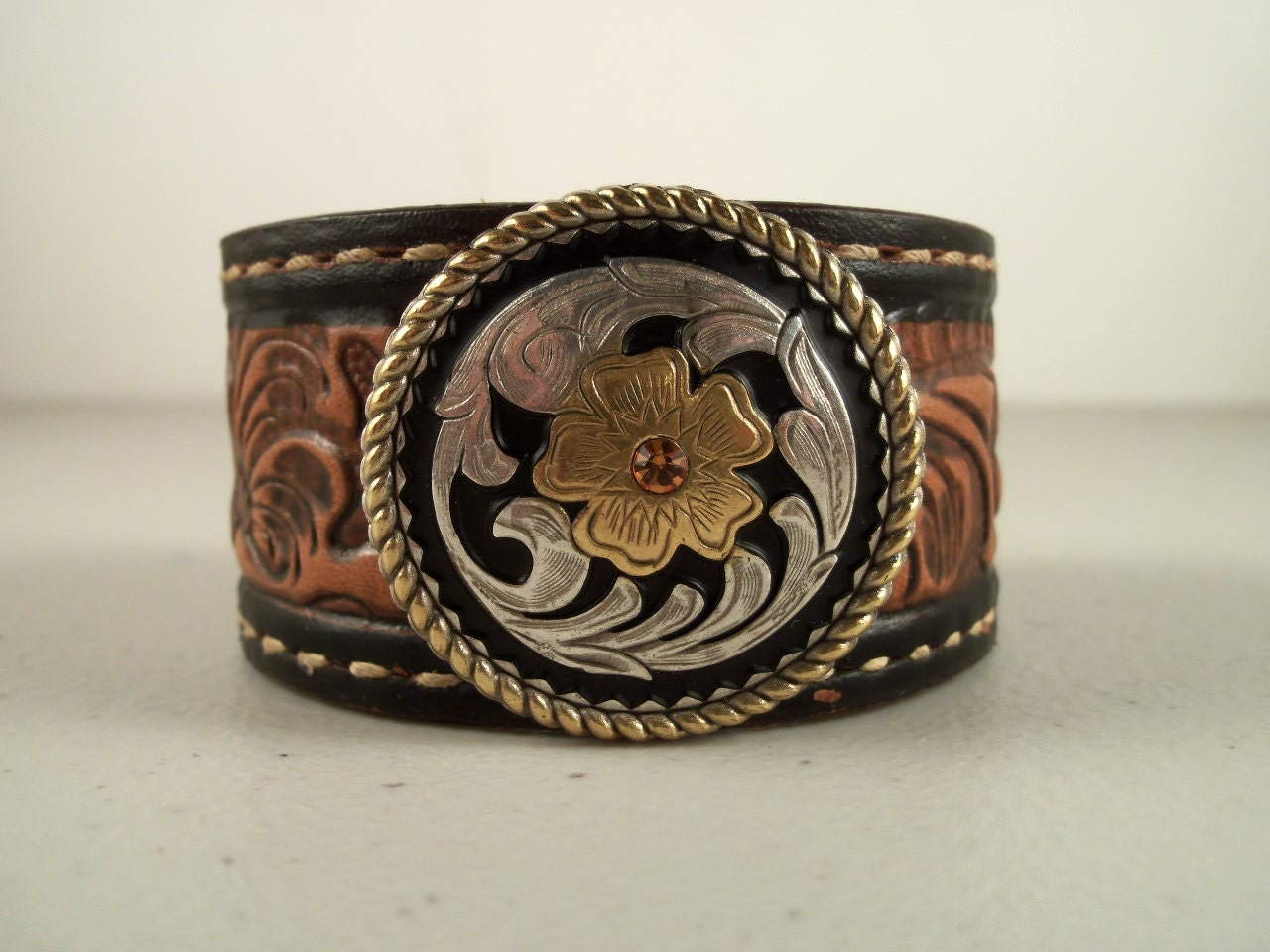 Rockabilly cowboy cuffs from repurposed cowboy belts by Repurposed leather belts