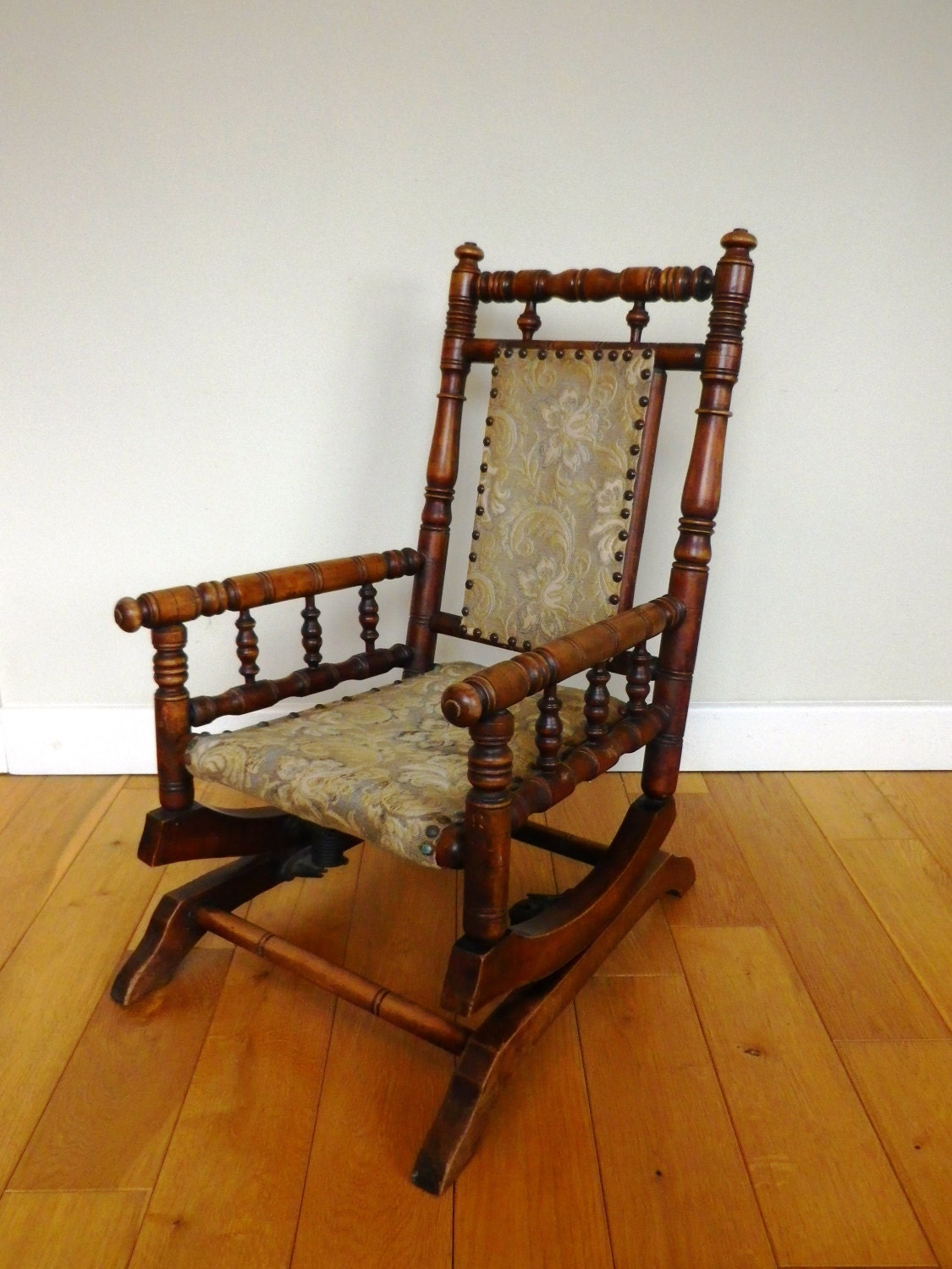 Antique Rocking Chair Late 19th Century oak and beech  childs American rocking chair Victorian rocking chair