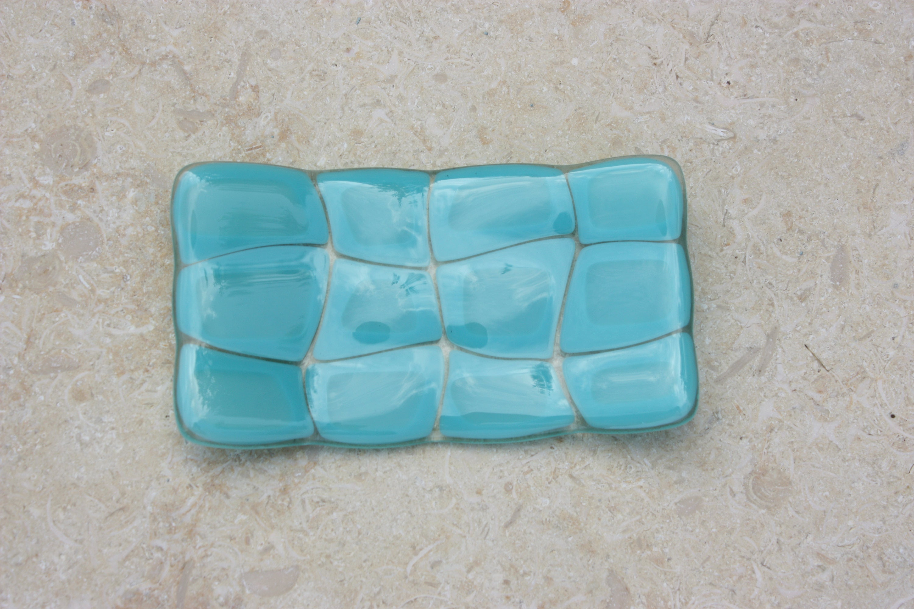 Turquoise turtle patterned fused glass soap dish handmade glass soapdish for kitchen or bathroom decor