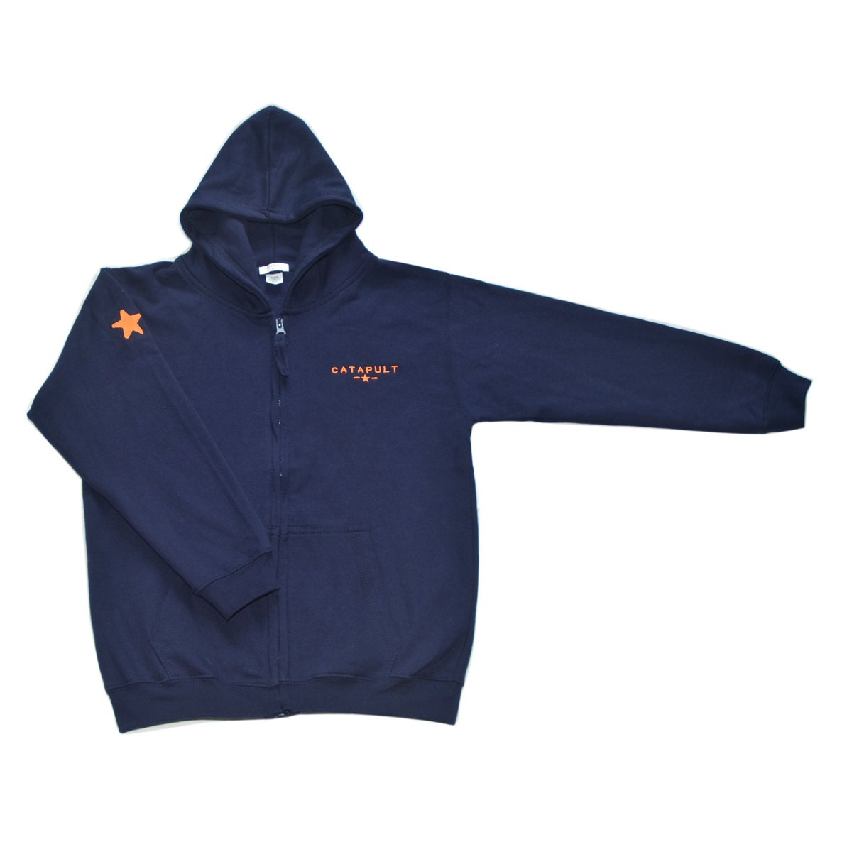 Catapult Zip Up Hoodie navy blue embroidered orange catapult and star on sleeve funky design for cool kids London design