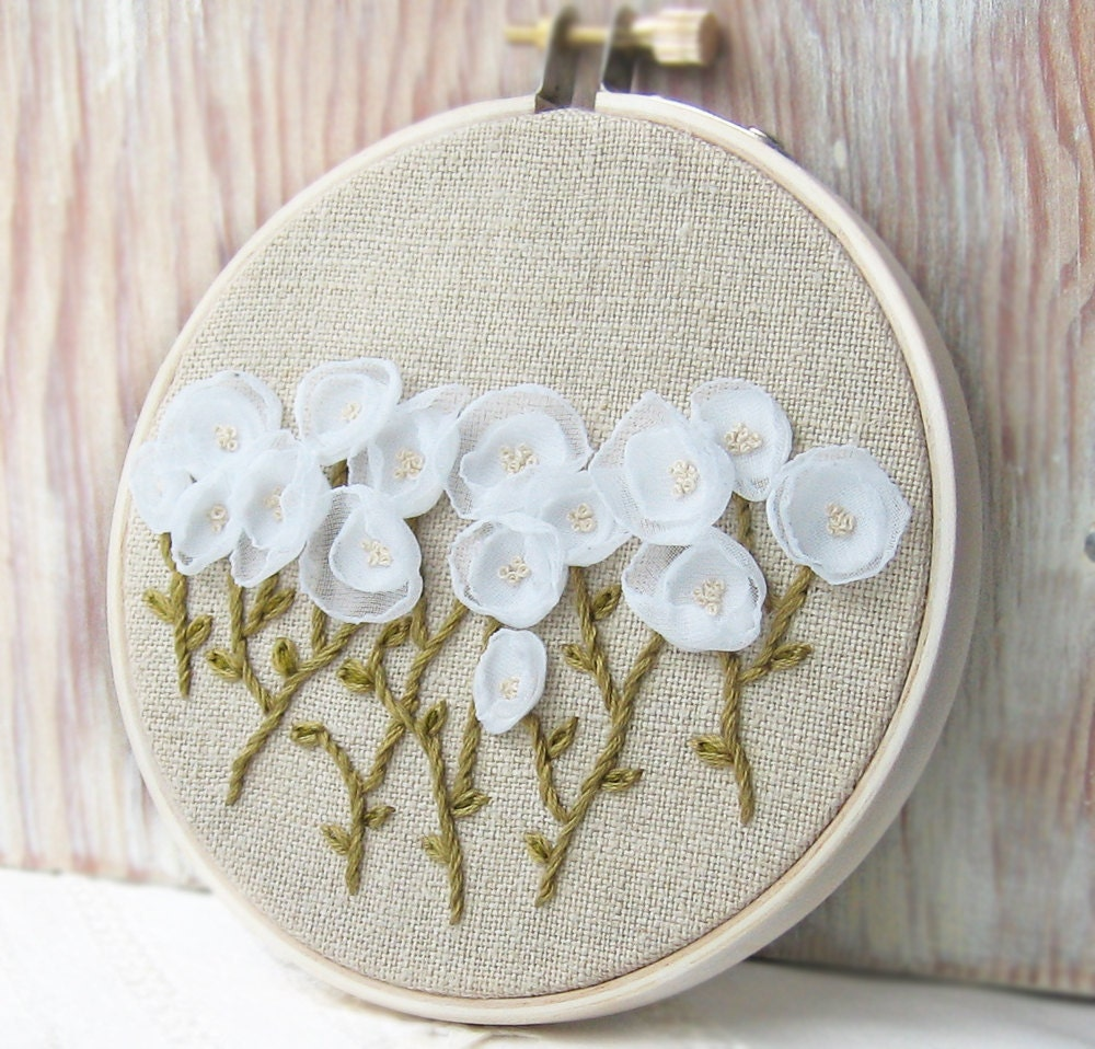 White Flowers Embroidered Fiber Art Wall Hanging stitched on natural linen