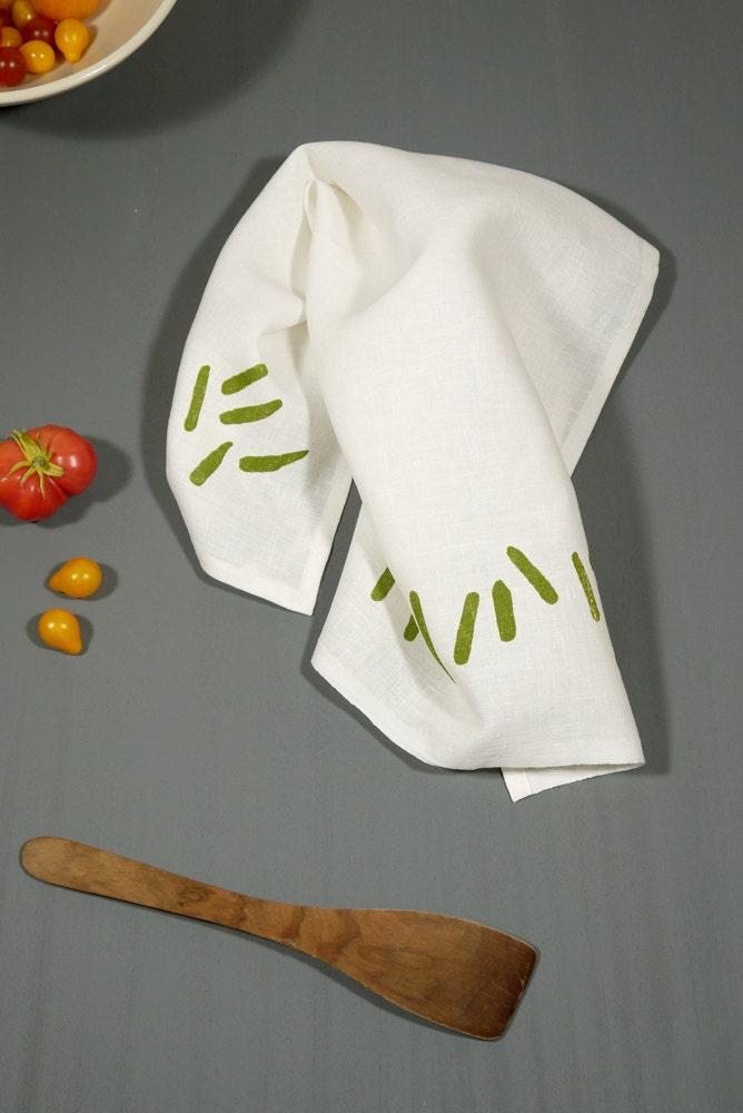 Scratch, white linen tea towel, spring leaf green - SometimesJane