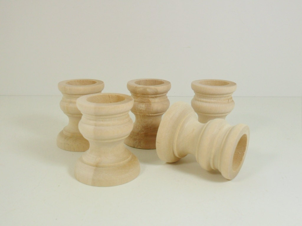 Candlestick wood candle holder unfinished 5 by craftingdaily - Unfinished wood candlestick holders ...