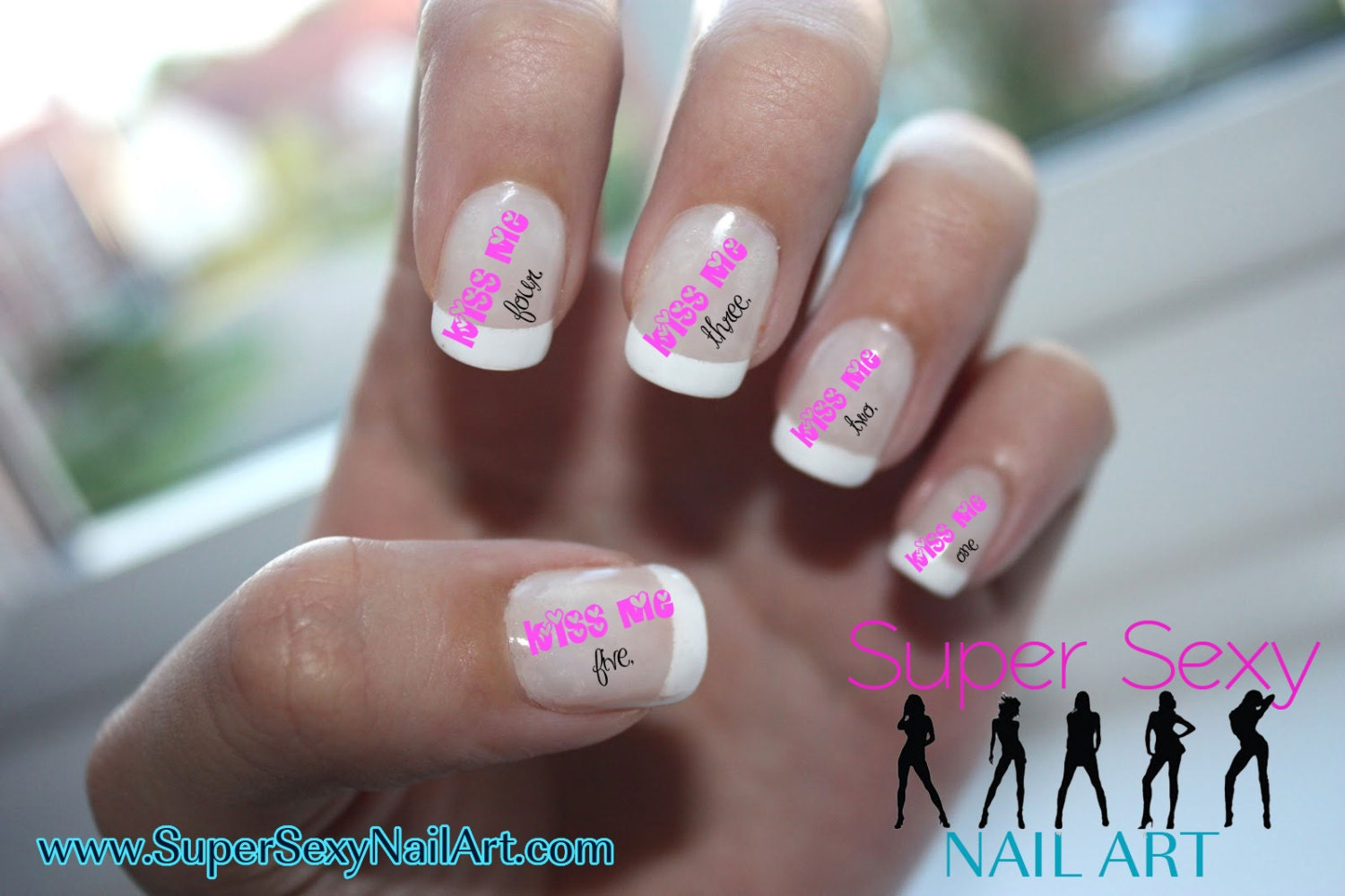New Years Eve Kiss Me Countdown Nail Art Water Transfer Decal - Waterslide Paper - Water Slide Paper - SuperSexyNailArt