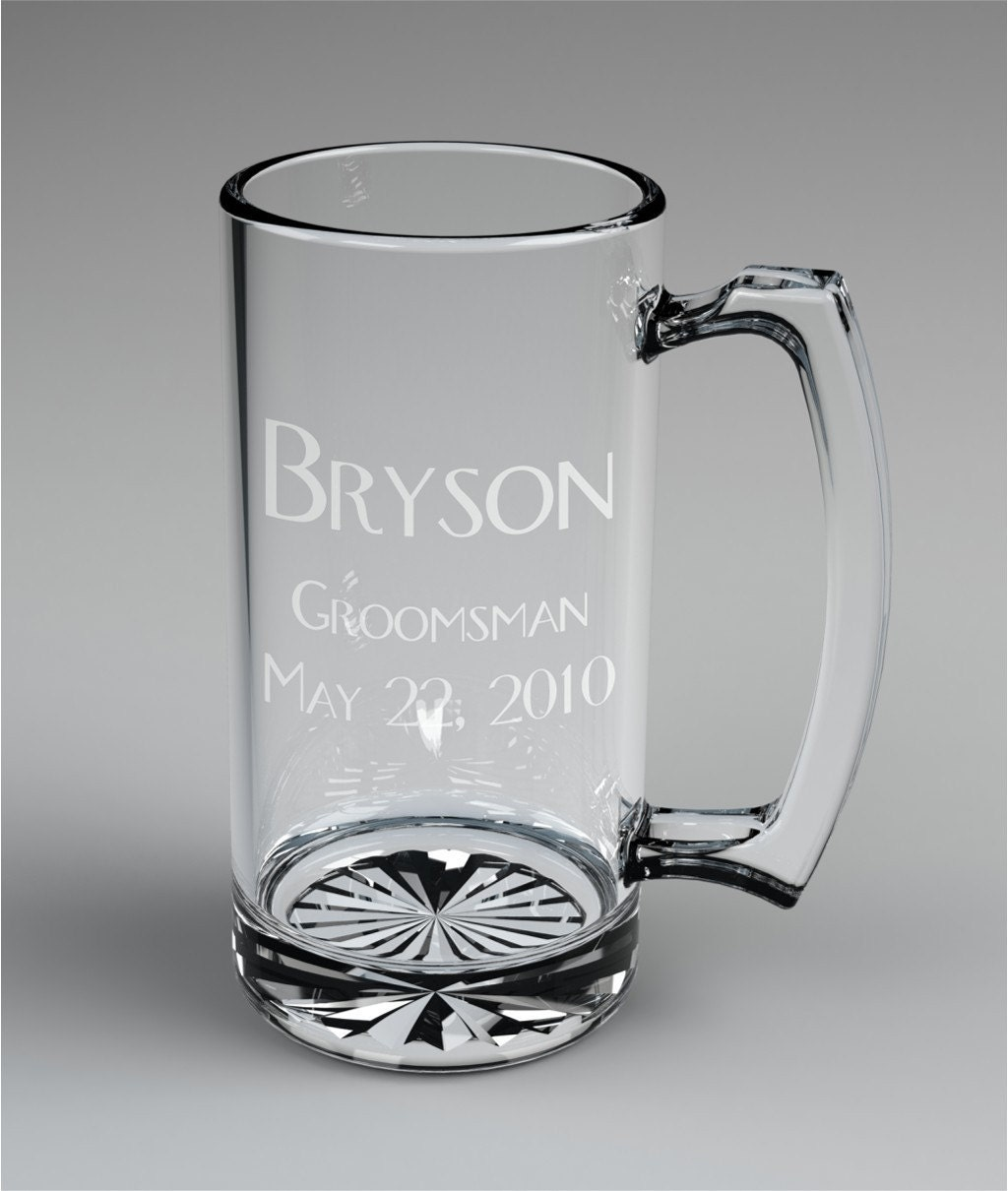 Engraved Wedding Mugs : Personalized Groomsman Beer Mugs Custom Engraved Wedding Gift.