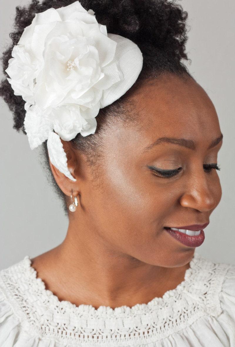 White Silk Bridal Mini Hat, Fascinator Hat,  Bridal Headpiece with Handmade Silk Flowers