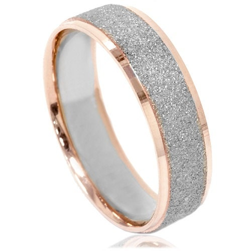 tone wedding ring 14k white rose gold 6mm brushed band size 7 12
