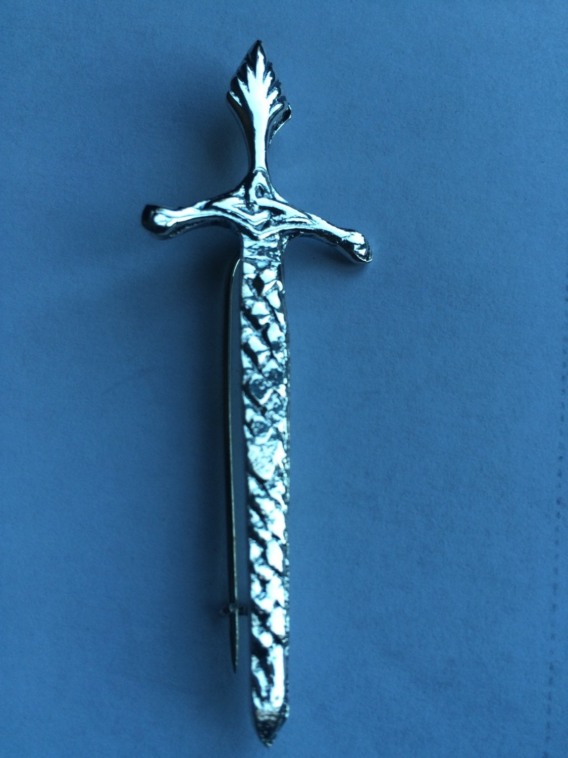 Scottish Sterling silver Claymore Sword KILT PINbrooch made from upcycled antique silverware  SALE