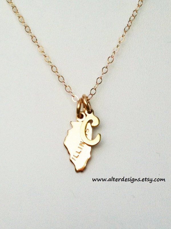 two state personalized necklace with initial charm by