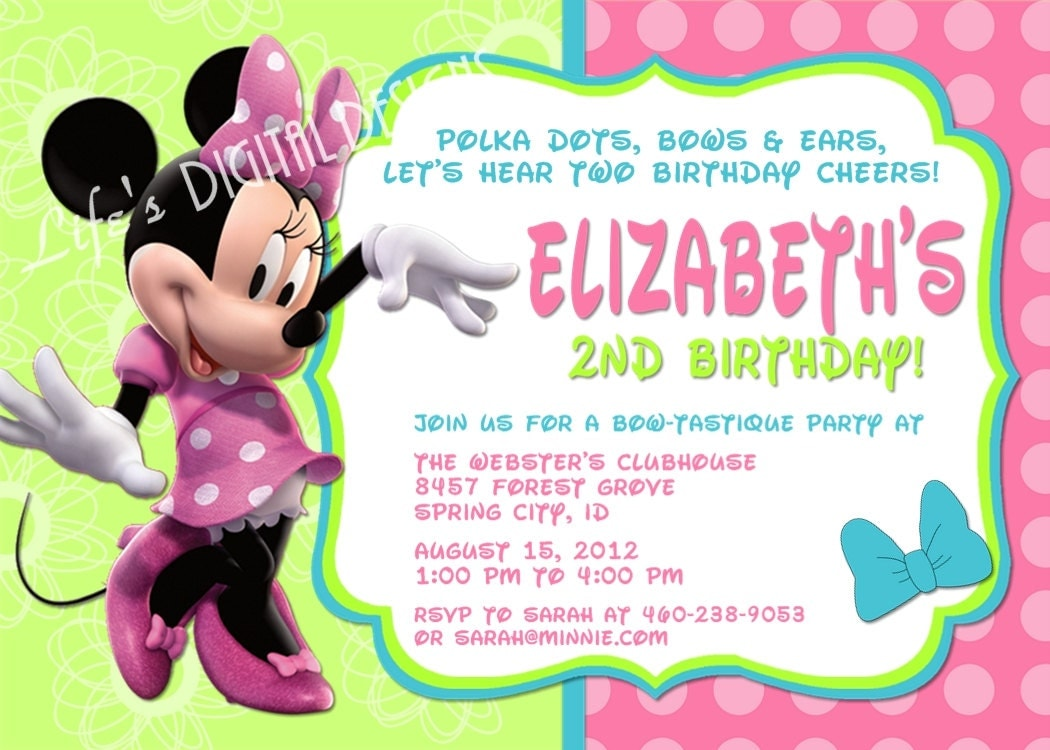 Minnie Mouse 2Nd Birthday Invitation Wording was perfect invitation example