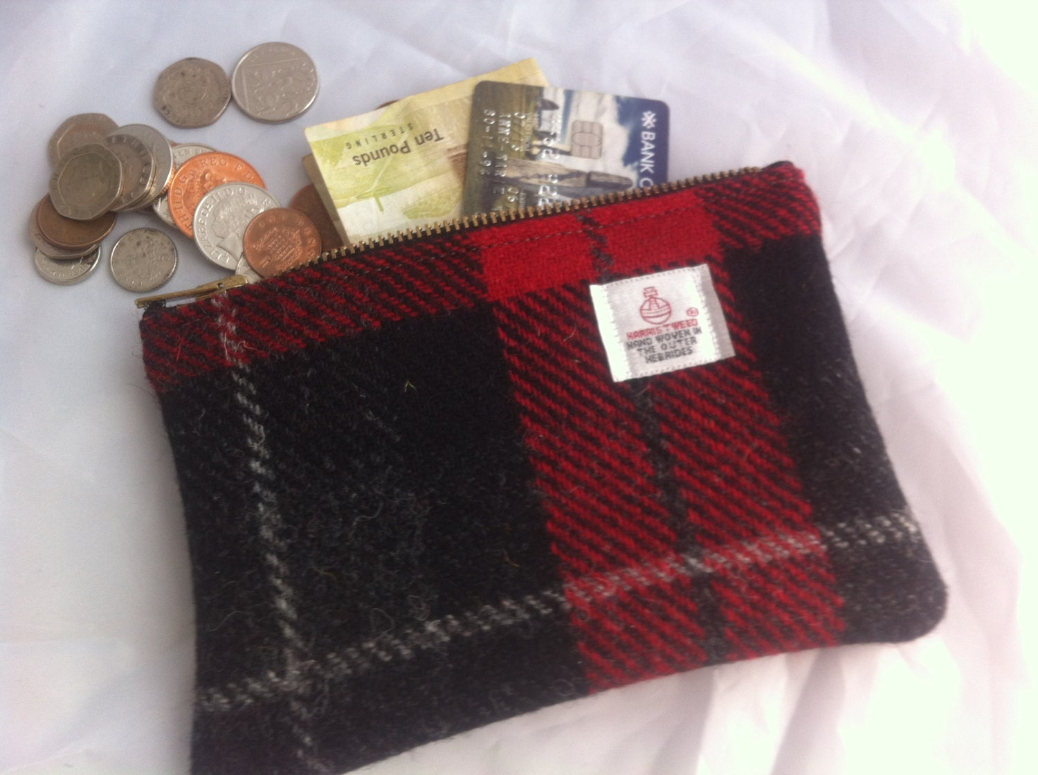 Harris tweed purse coin purse tweed pouch charger case