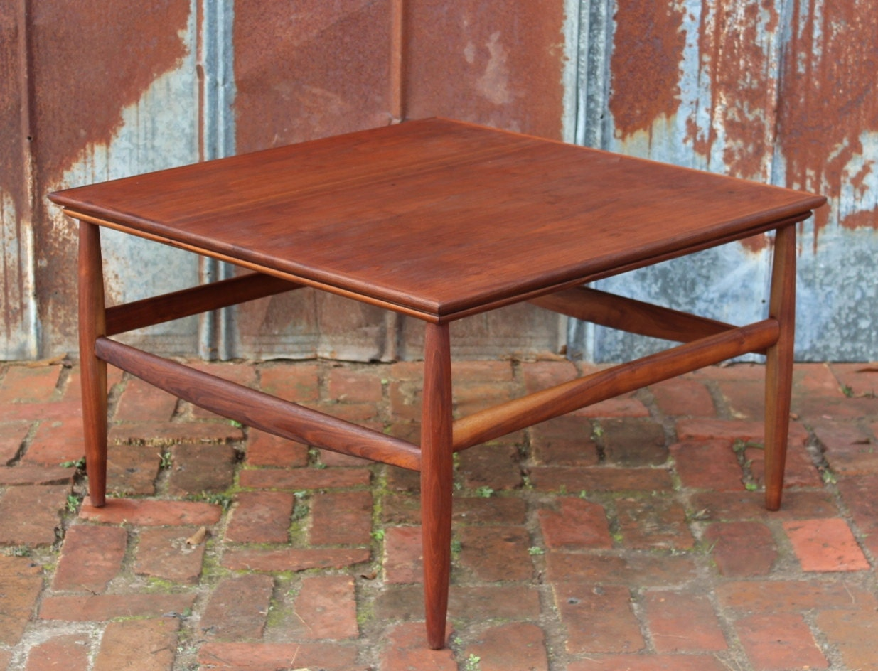 Vintage danish style square teak coffee table by retrospeclist for 60s style coffee table