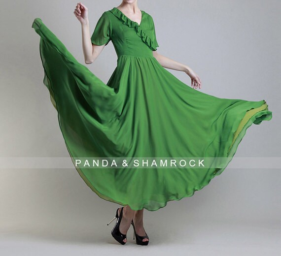 grass/women dress/ chiffon dress/ long/ S-XL/custom made/ many color choices/wedding/bridesmaid