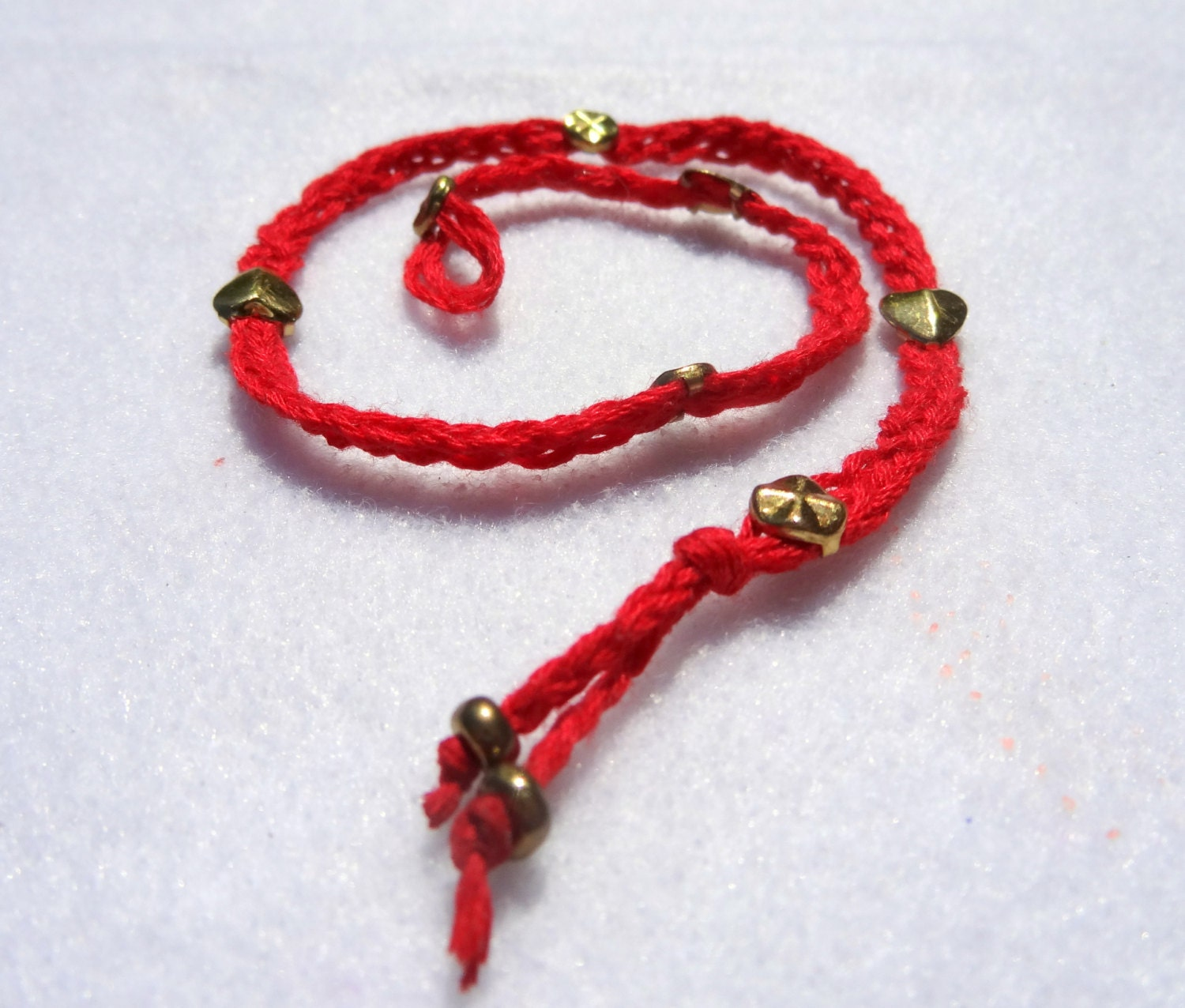 Love and Protection Red and Gold Studded Wraparound. Spiritual meaning, Inspired by Oriental beliefs, please read description for meaning. - SonPrendas