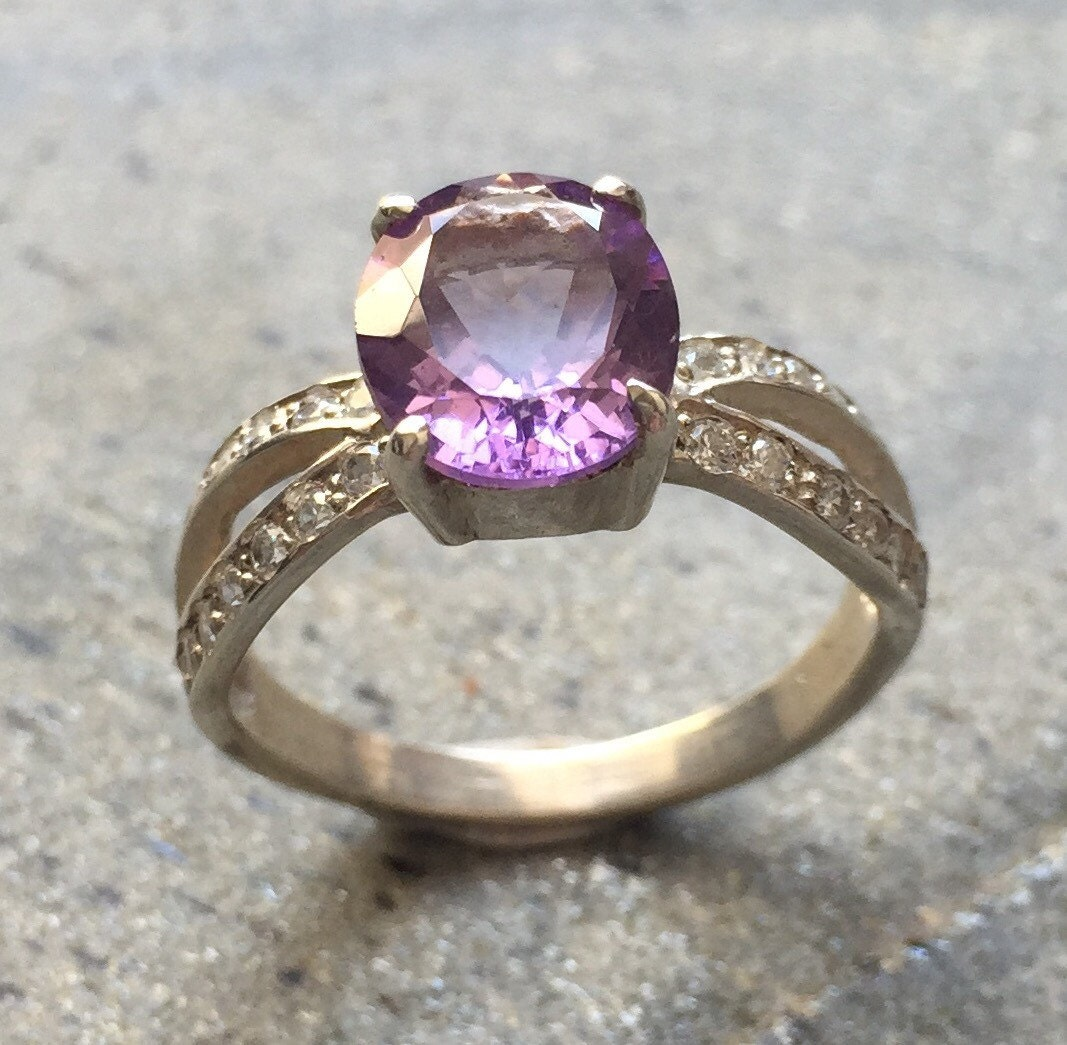 Amethyst Engagement Ring Natural Amethyst Solid Silver Ring CZ band Amethyst Promise Ring Vintage Rings Anniversary Ring