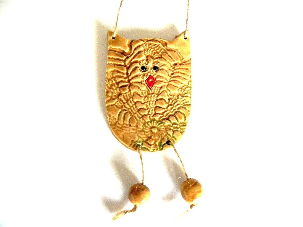 Ceramic Grandpa Owl Ornament - Ceraminic