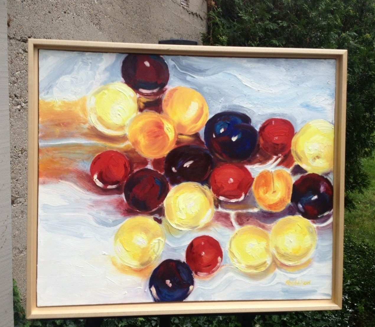 "PLUMS, oil on canvas, 20"" x 24"" framed Artist: Rob Wilson (1938 - 2007) Vancouver, BC"