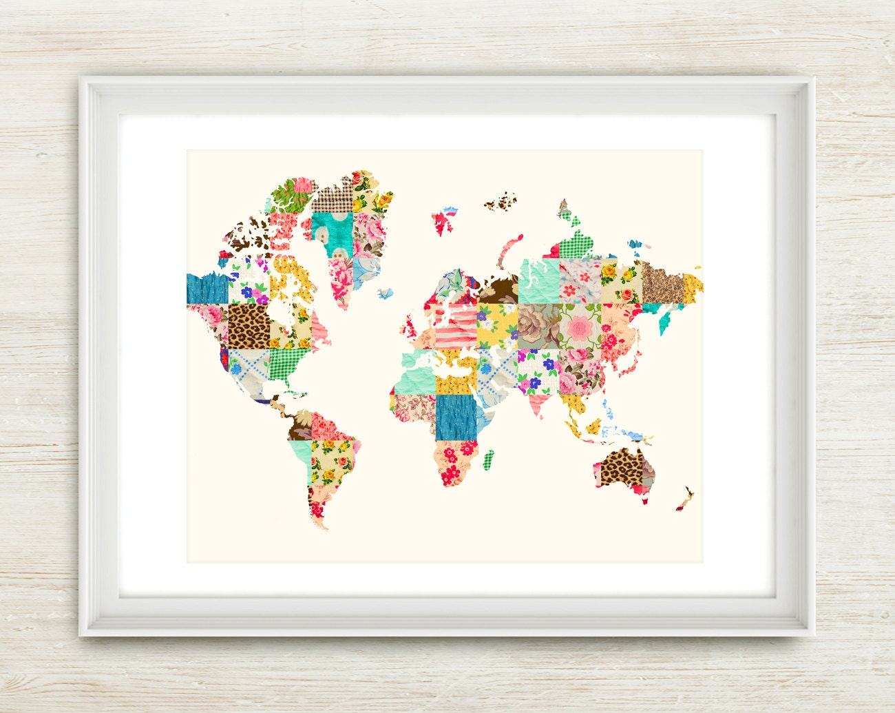 Be An Explorer of The World - 8x10 inches on A4. Inspiring world travel map, quilt, patchwork, vintage, quote art print. - mercimerci