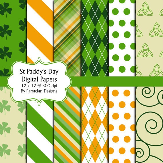 St Patrick's Day Digital Collage Sheet 12 x 12 sheet set Digital Papers
