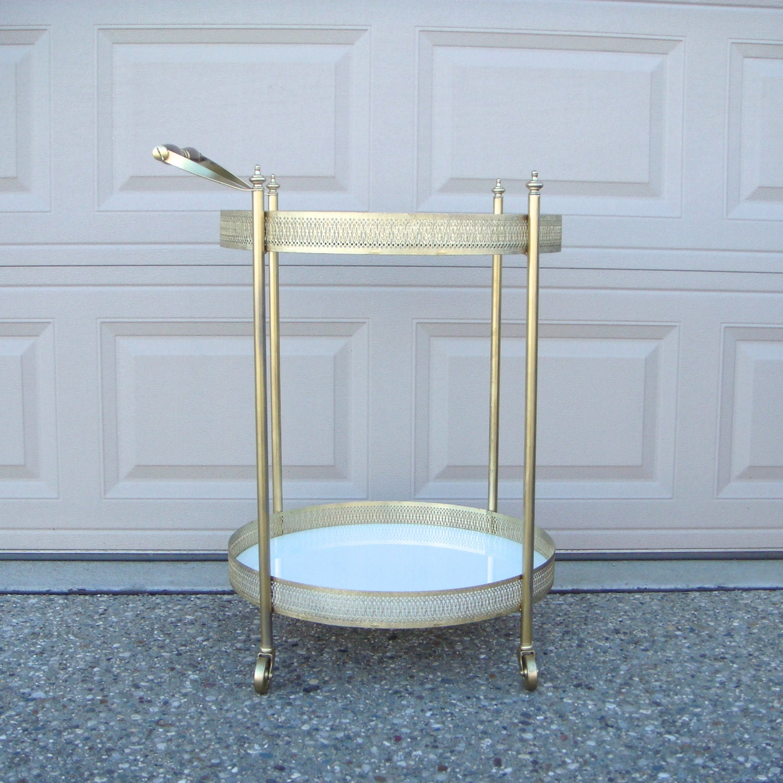 Hollywood Regency Gold Bar Cart Vintage Bar By Finebirdvintage