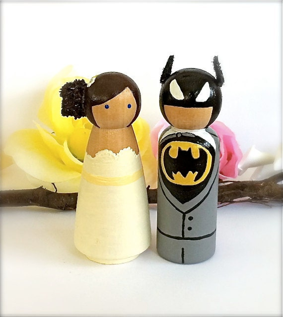 Custom Superhero Wedding Cake Topper Wood Peg Doll Hero Keepsake Collectable Bridal Shower Gift Comic Books Character Art Toy 1980s