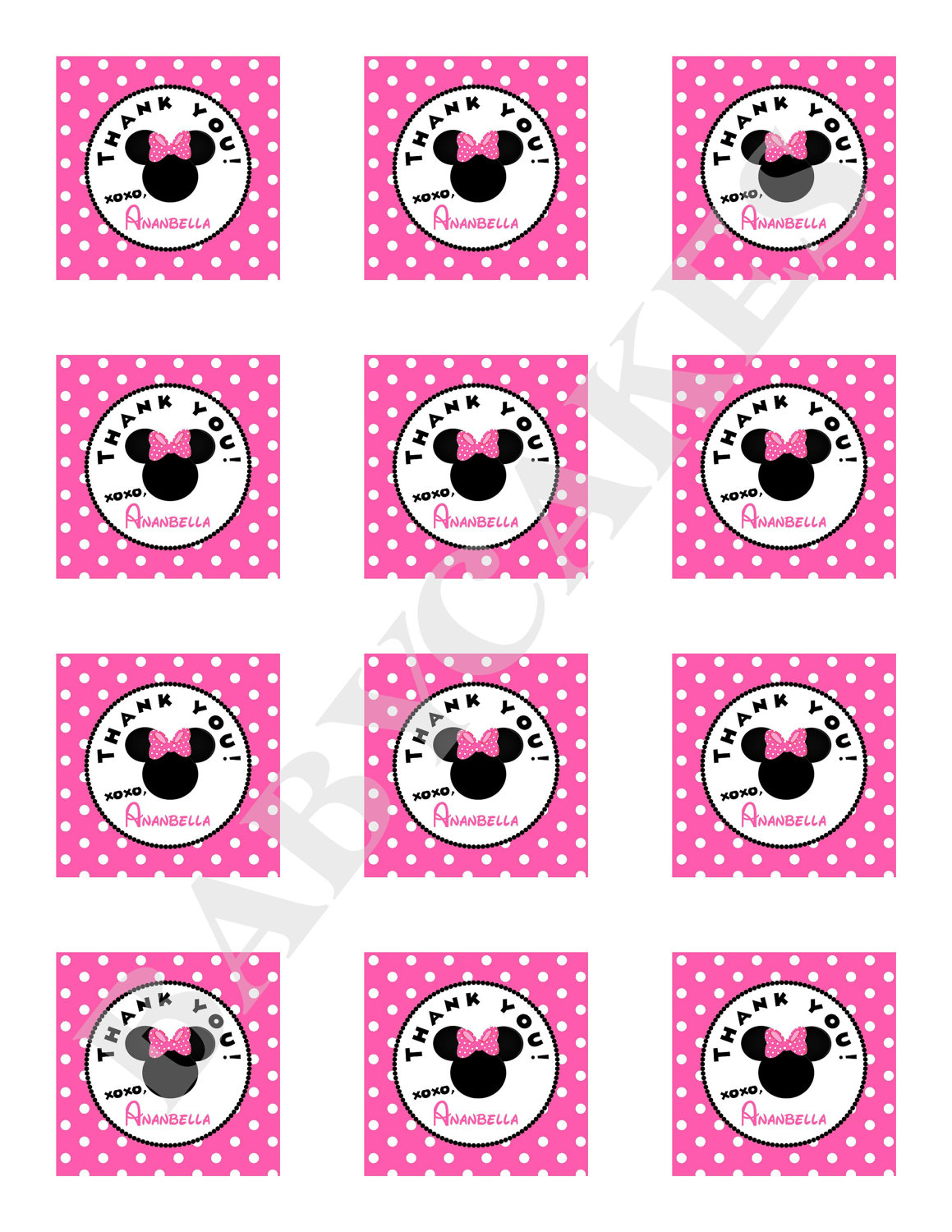 Minnie Mouse Favor Tags DIY Print Your Own by jcbabycakes on Etsy