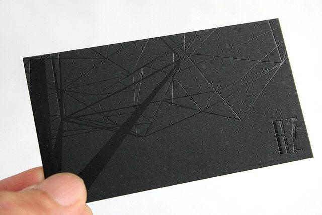 100 Business Cards black foil 14PT black matte by