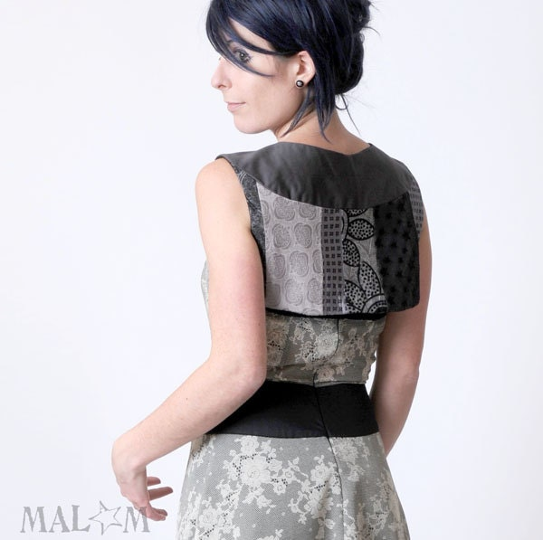 Cropped Bolero in a patchwork of Grey fabrics - Couture  -  size  M - Malam