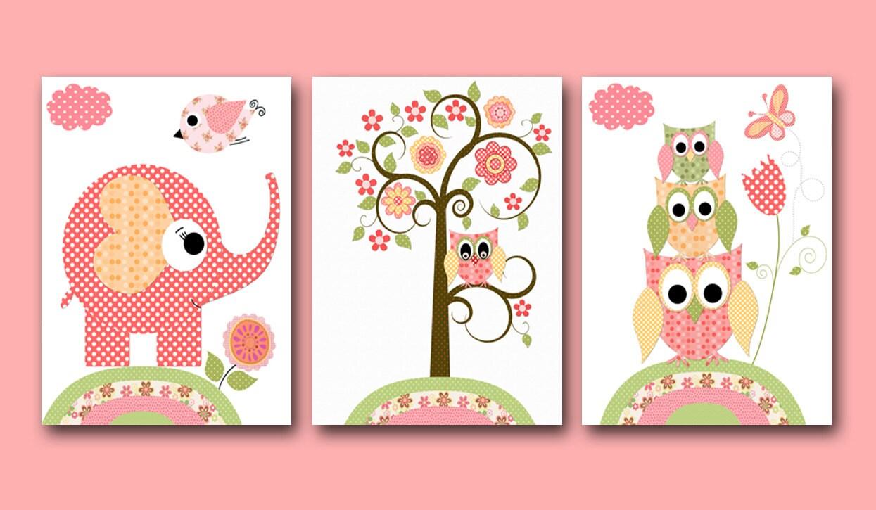 Cute Nursery Wall Decor : Nursery art for children kids wall baby girl by