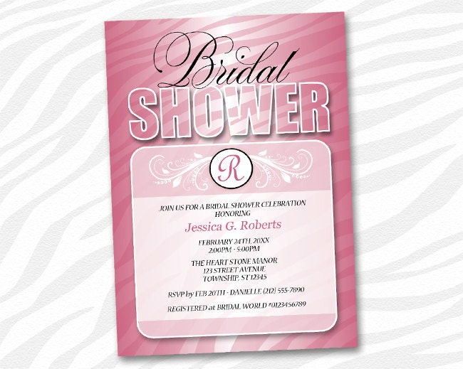 ... Zebra Bridal Shower invitations - Pink Fusion Zebra Stripes Monogram