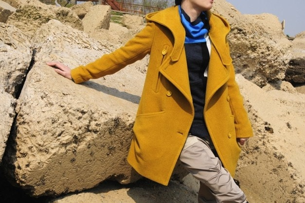 Yellow wool women jacket wide lapel women coat Spring Autumn Winter--CO060