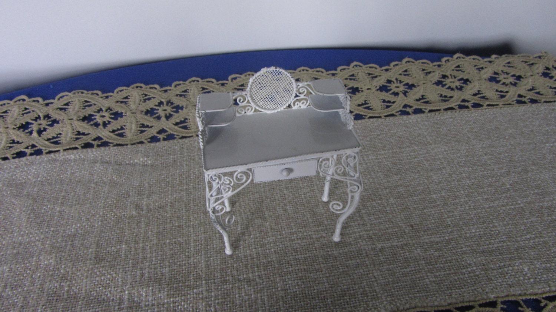 Dollhouse Miniature White Metal Desk, White Metal and Wire Desk 1:12 Scale, Vint