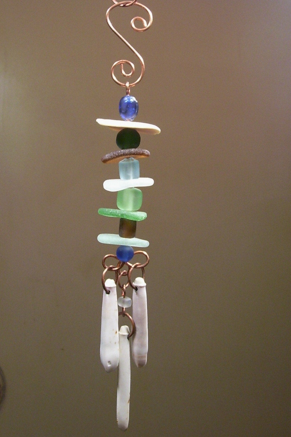 genuine sea glass wind chime mobile suncatcher by