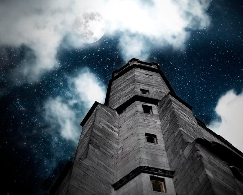 Halloween decor, Indigo Navy White sapphire gray- Haunted House Photograph- moon stars- spooky- dark night 8x10 - Raceytay