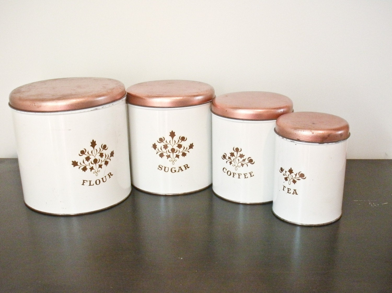 Set Of 4 Vintage White Metal Canisters With Copper By