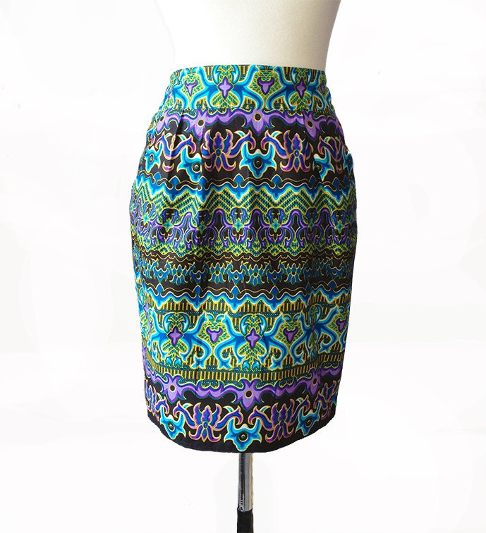 Green Purple  Black Tribal African Wax Fabric Tulip Skirt  available in 5 sizes