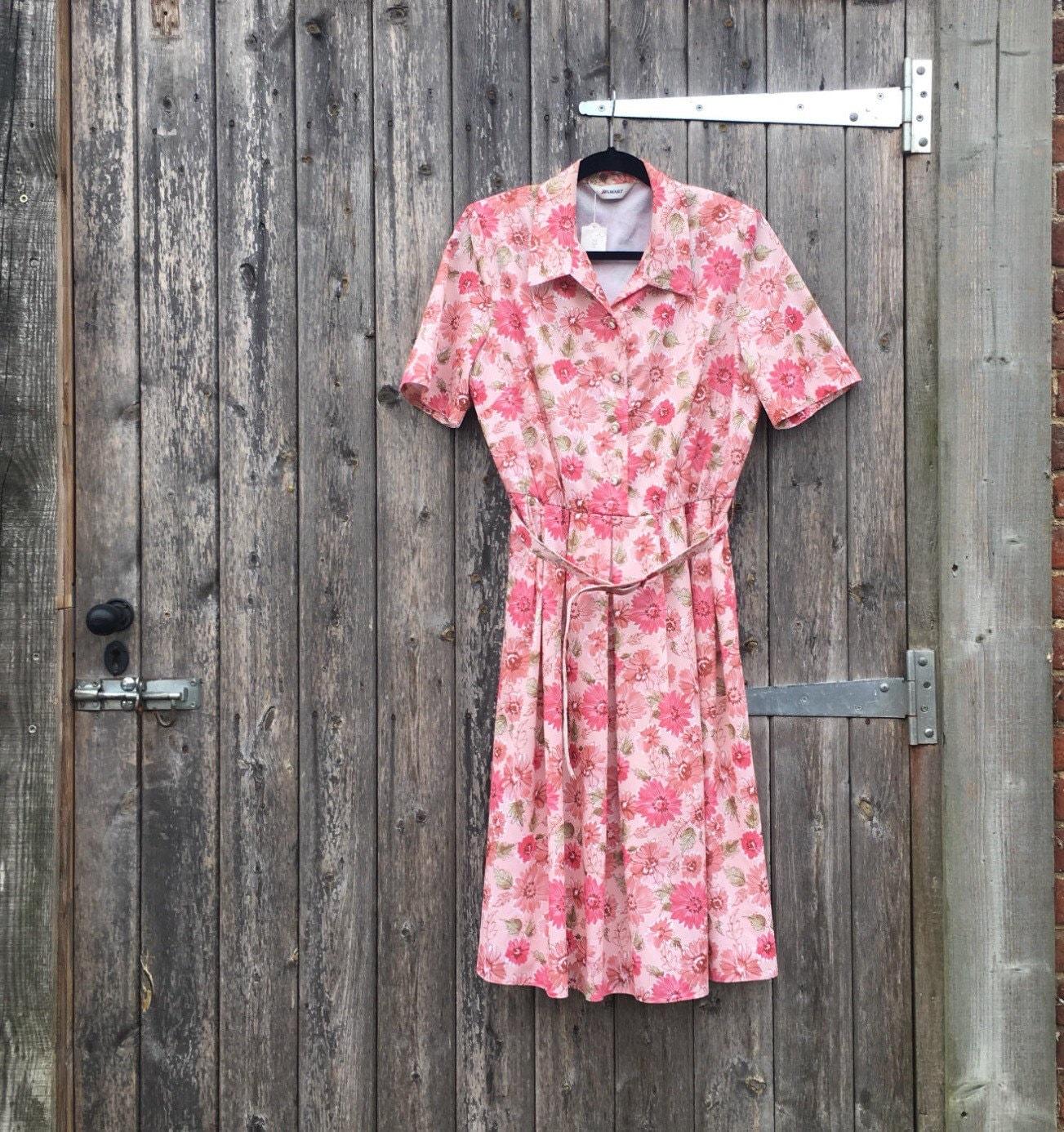 Pink flroal 80s dress  boho pink floral tea dress  quirky vintage dress  summer vintage dress  festival boho dress  mid length dress