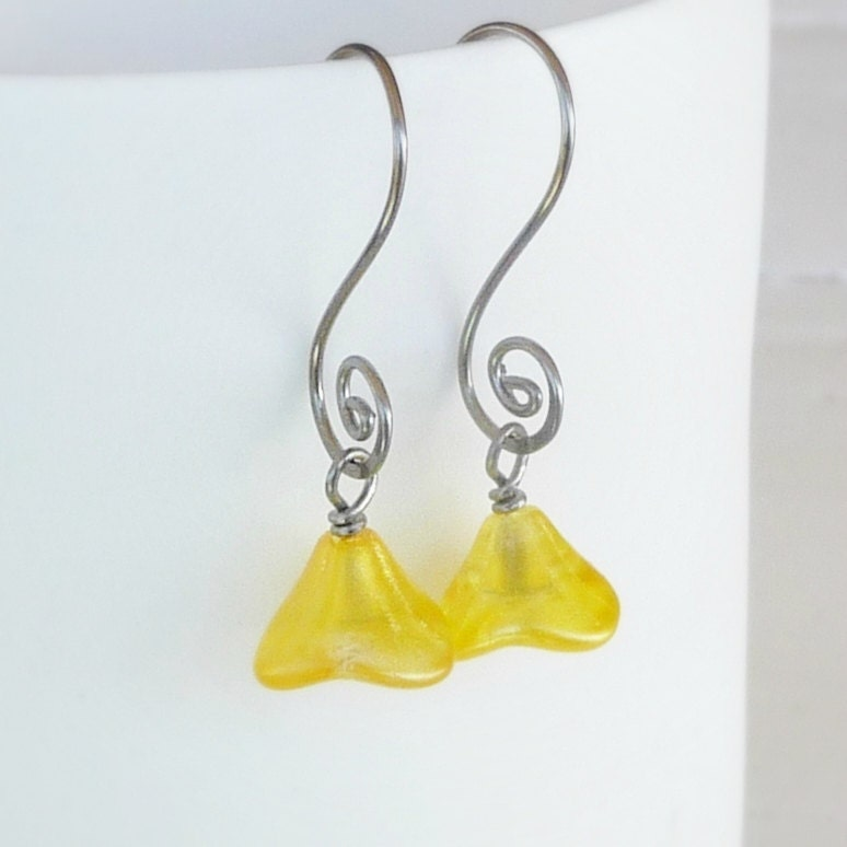 items similar to buttercup yellow flowers earrings on