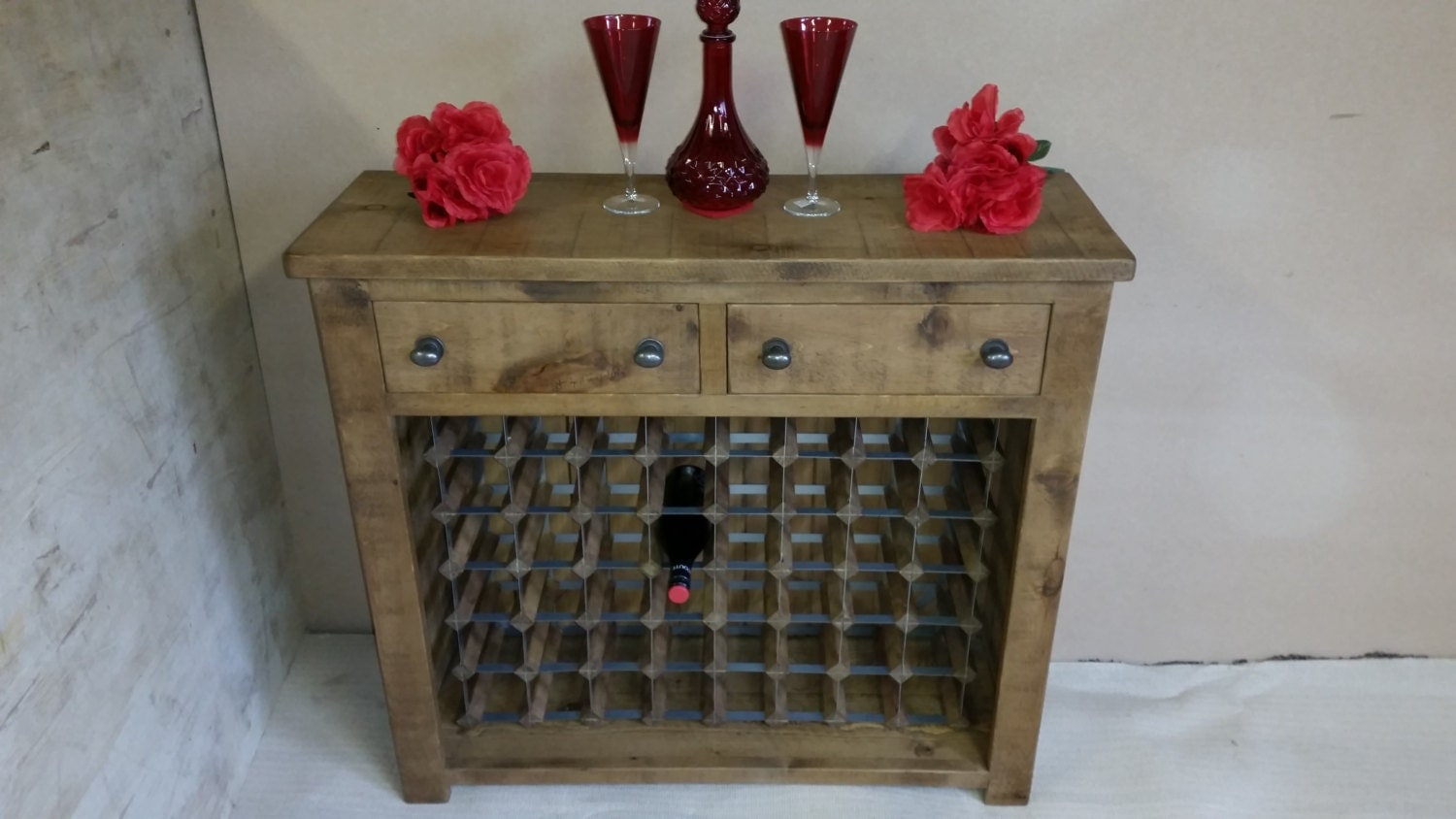 Rustic plank Furniture NEW Real Solid Wood Winerack Sideboard Dresser Base Cupboard Drawers Sawn indigo furniture drinks cabinet rustic pine