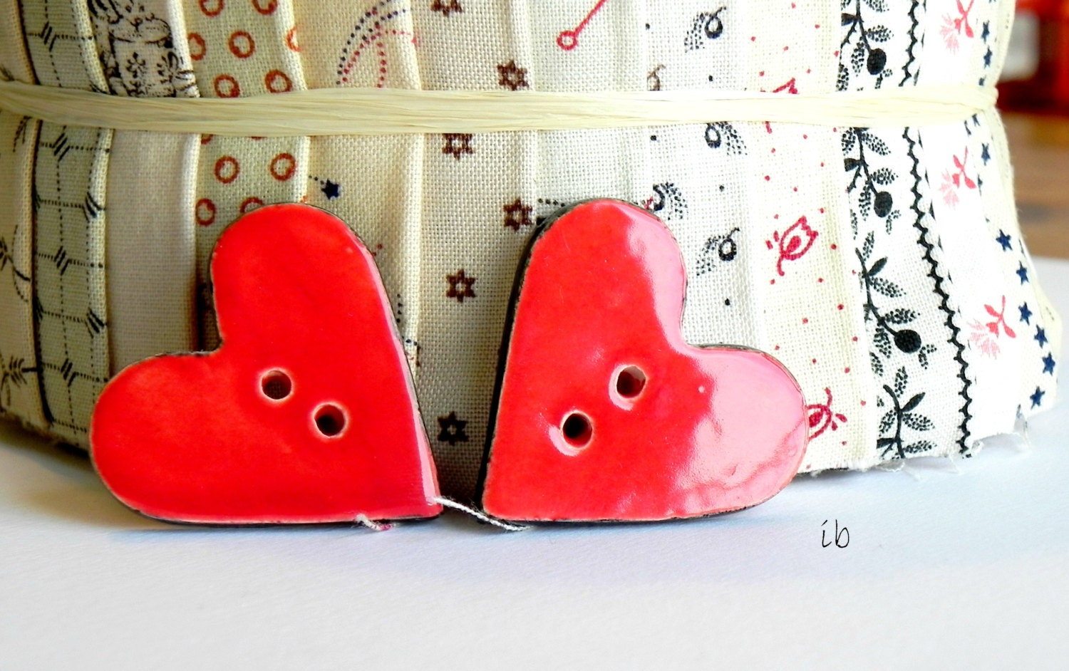 Ceramic Heart Buttons Red and Black Unique For Knitters Two Holes Set of 2